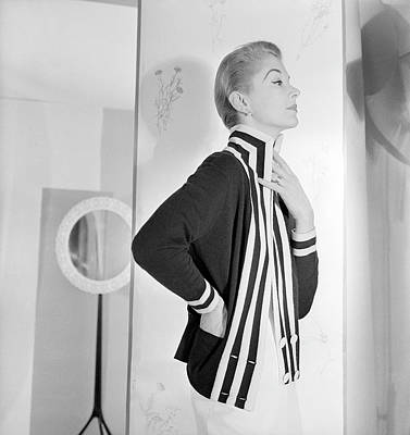 Fashion Photography Photograph - Model Wearing Striped Cardigan by Horst P Horst
