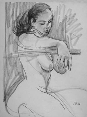 Drawing - Model With Arm Extended by Robert Holden