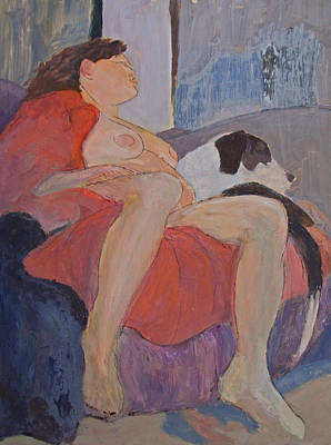 Painting - Model With Dog by Don Perino