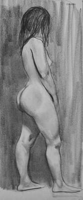 Drawing - Model With Dreadlocks In Profile, Standing Pose by Robert Holden