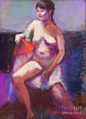 Pastel - Model With Fan by Joyce A Guariglia