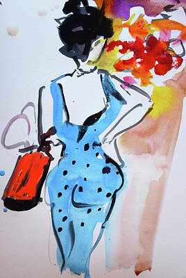 Model With Flowers And Red Handbag Art Print