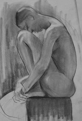 Drawing - Model Bending Forward With Head On Knee by Robert Holden