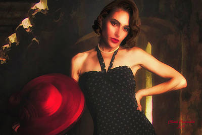 Photograph - Model With Red Hat ... by Chuck Caramella