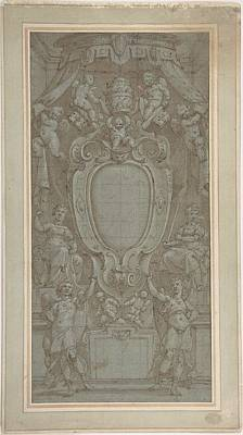 Papal Painting - Modello For Ceiling Fresco With Papal Coat Of Arms by MotionAge Designs