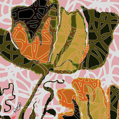 Squiggles Digital Art - Modern Abstract Floral Green by Ruth Palmer