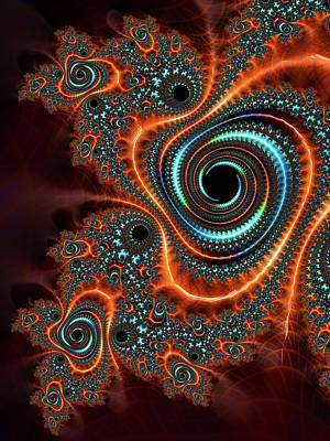 Digital Art - Modern Abstract Fractal Art Orange Cyan by Matthias Hauser