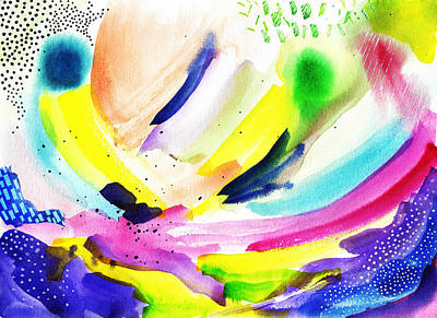 Modern Abstract Watercolor Art Print by My Art