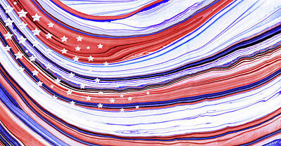 Modern American Flag - Red White And Blue - Sharon Cummings Art Print