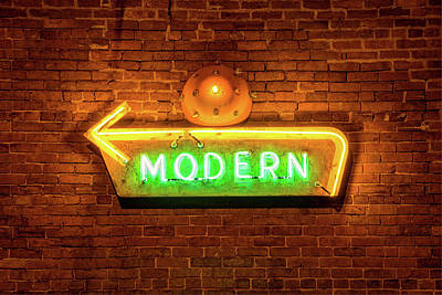 Photograph - Vintage Neon Sign On Brick Wall by Gregory Ballos