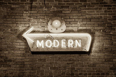 Photograph - Modern Arrow Neon Sign On Brick Wall - Sepia Edition by Gregory Ballos