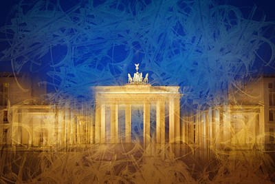 Spot Digital Art - Modern Art Berlin Brandenburg Gate by Melanie Viola