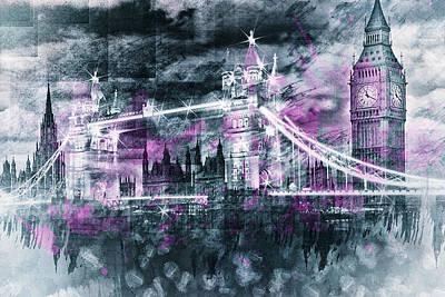 Vignette Digital Art - Modern-art London Tower Bridge And Big Ben Composing  by Melanie Viola