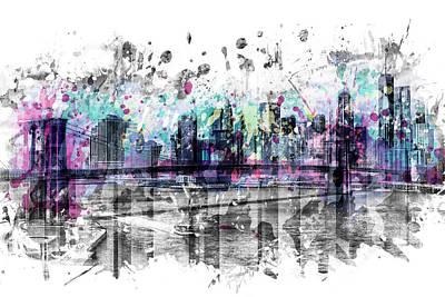 Brooklyn Bridge Digital Art - Modern Art New York City Skyline - Splashes  by Melanie Viola