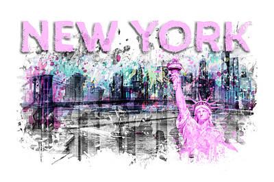 Graphic Digital Art Photograph - Modern Art New York City Skyline Splashes - Pink by Melanie Viola