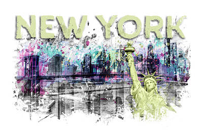 Brooklyn Bridge Digital Art - Modern Art New York City Skyline Splashes - Yellow by Melanie Viola