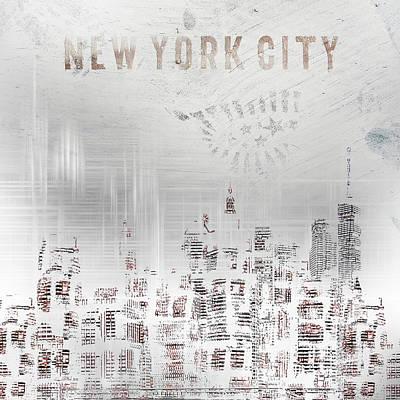 Digital Art - Modern Art New York City Skylines - White by Melanie Viola