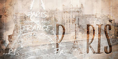 Panoramic Digital Art - Modern Art Paris Collage by Melanie Viola