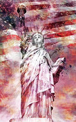 Photograph - Modern-art Statue Of Liberty - Red by Melanie Viola