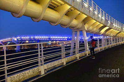 Art Print featuring the photograph Modern Bicycle Overpass By Night by Yali Shi