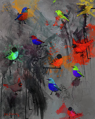 Parakeet Mixed Media - Modern Bird Art Dark by Ken Figurski