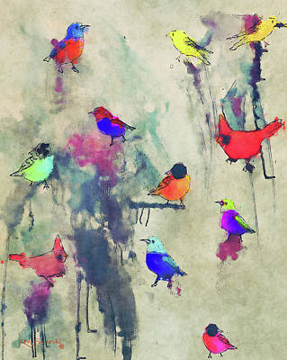 Parakeet Mixed Media - Modern Bird Art by Ken Figurski
