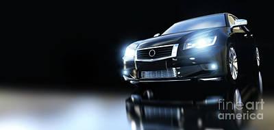 Photograph - Modern Black Metallic Sedan Car In Spotlight. Banner by Michal Bednarek