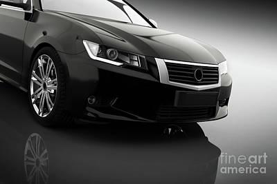 Background Photograph - Modern Black Metallic Sedan Car In Spotlight. Generic Desing, Brandless. by Michal Bednarek