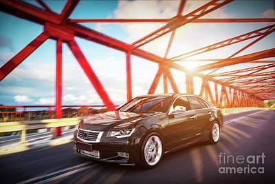 Wheel Photograph - Modern Black Metallic Sedan Car On The Bridge Road. Generic Desing, Brandless. by Michal Bednarek