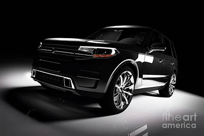 Photograph - Modern Black Suv Car In A Spotlight On A Black Background. by Michal Bednarek