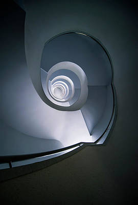 Art Print featuring the photograph Modern Blue Spiral Staircase by Jaroslaw Blaminsky