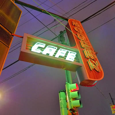 Photograph - Modern Cafe Pittsburgh Neon Sign by Colleen VT