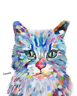 Painting - Modern Cat by Enzie Shahmiri