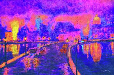 Big Ben Mixed Media - Modern Colorful Cityscape  by Ken Figurski