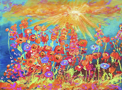 Painting - Modern Colorful Wild Flower Painting by Ken Figurski