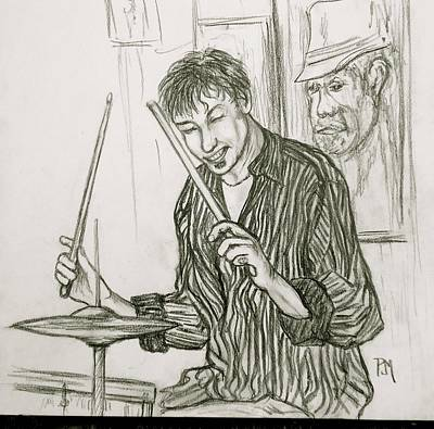 Drawing - Modern Drummer by Pete Maier
