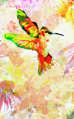 Mixed Media - Modern Expressive Hummingbird  by Ginette Callaway