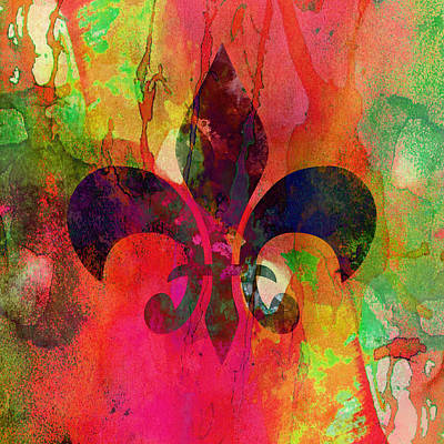 Decorating Mixed Media - Modern Fleur De Lys by Georgiana Romanovna