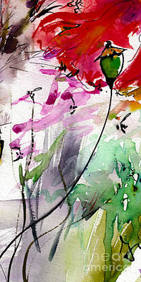 Painting - Modern Floral Poppy Pods 1 by Ginette Callaway