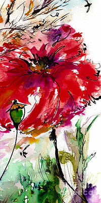 Painting - Modern Floral Poppy Pods 3 by Ginette Callaway
