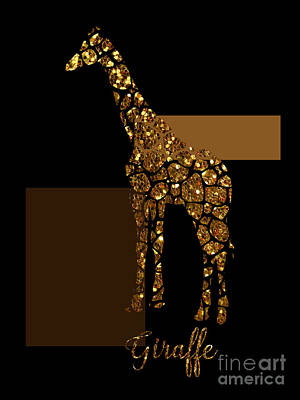Gold Lame Painting - Modern Gilt Giraffe, Gold Black Brown by Tina Lavoie