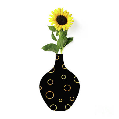Digital Sunflower Painting - Modern Home I A Fresh Take On Floral Art by Tina Lavoie