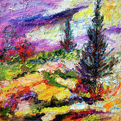 Painting - Modern Impressionist Evergreens Landscape by Ginette Callaway