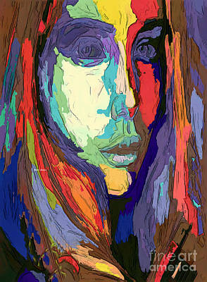 Digital Art - Modern Impressionist Female Portrait by Rafael Salazar