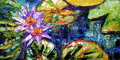Painting - Modern Impressionist Lily Pond Reflections by Ginette Callaway