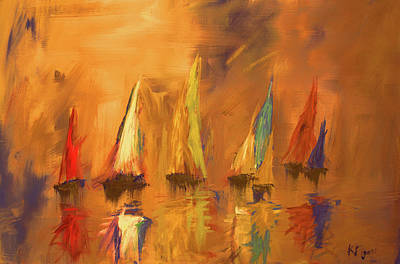 Painting - Modern Impressionistic Acrylic Painting Of Colorful Sailboats 2 by Ken Figurski