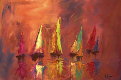 Painting - Modern Impressionistic Acrylic Painting Of Colorful Sailboats 3 by Ken Figurski