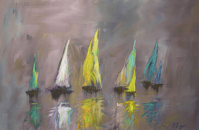 Painting - Modern Impressionistic Acrylic Painting Of Colorful Sailboats 4 by Ken Figurski