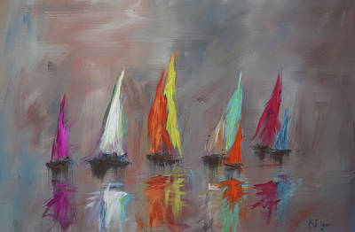 Painting - Modern Impressionistic Acrylic Painting Of Colorful Sailboats 5 by Ken Figurski