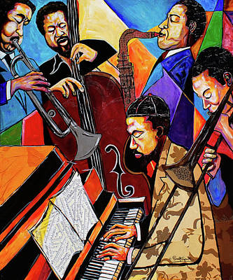Painting - Modern Jazz Quintet Side B by Everett Spruill